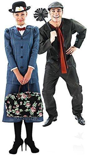 Paar Mary Poppins and Bert Der Schornsteinfeger Viktorianisch Passend Kostüm Verkleidung Outfit, Multi, Damen EU 40-42 & Herren XL (Mary Poppins Bert Kostüme)