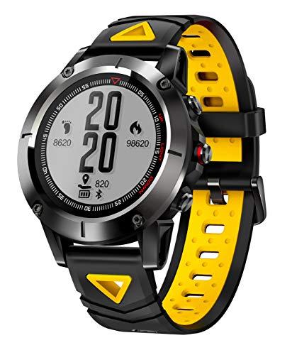 WETERS Fitness Tracker Aktivität Tracker Uhr Pulsmesser Wasserdicht GPS Schritt Track Erinnerung Sport Armband,Yellow
