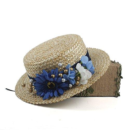 IWGR Der Strohhut der Frauen Edwardian Young Ladies Blue Straw Hat with Flowers (Farbe : Natürlich, Größe : (Edwardian Kostüm Männer)