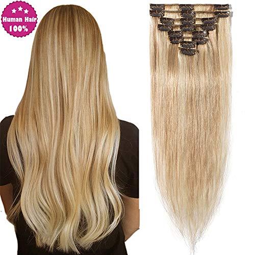 """SEGO Clip In Extensions Remy Echthaar Haarverlängerung Haarteil natürliches glatt Honigblond/Hellblond#18p613 24""""(61cm)-80g"""