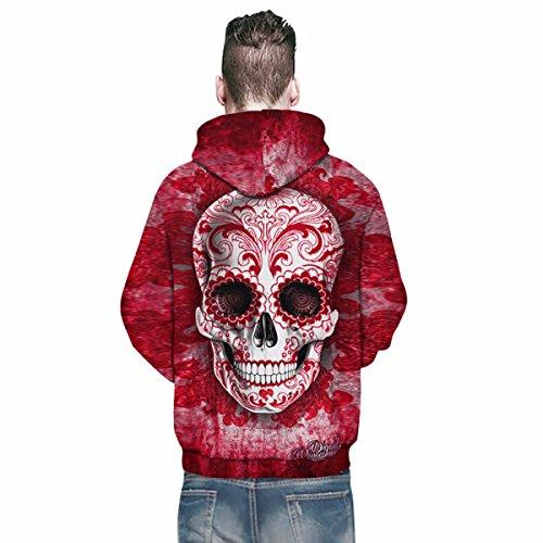 Felpa Con Cappuccio Felpa Con Stampa 3D Con Coulisse Maglia Manica Lunga Con Cappuccio A Maniche Lunghe Con Grande Tasca Per Uomo Donna Coppie Cranio Red