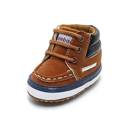 Delebao Baby Stiefel Schuhe Warme Babyschuhe Sneakers Schneestiefel Turnschuhe Lauflernschuhe Krabbelschuhe Weiche Sohle Hoch oben für Kinder Mädchen Jungen 6-12 Monate Braun