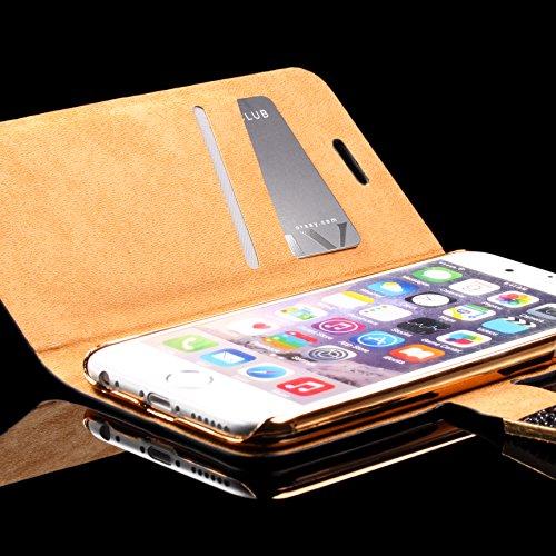 Urcover® Bling Glitzer Apple iPhone 6 / 6s Wallet | Handy Schutz-Hülle in Lila | Kartenfach & Standfunktion | Flip-Cover mit Magnet-Verschluss | Kunststoff Glitzer Case mit Strass-Steinen | Smartphone Lila