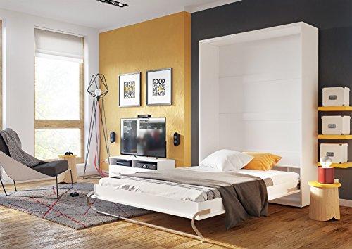 Schrankbett CONCEPT PRO Wandklappbett – Vertikal (120×200 cm, weiß matt) - 2