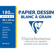 Clairefontaine - Pochette Dessin à Grain - Maxi Format - 24 x 32 cm - 12 Feuilles - 180g
