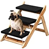 Popamazing Folding Pet Steps Ramp for Large/Small Dogs/Cats Wooden 3 Steps Pet Stairs/Ladders