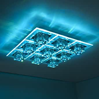 led colour changing ceiling flush light with remote control lighting. Black Bedroom Furniture Sets. Home Design Ideas