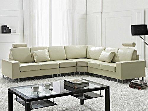 Divano angolare moderno in pelle beige versione sinistra stockholm
