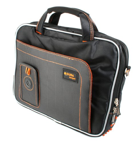 DURAGADGET Black and Orange Padded Carry Bag / Case for the Samsung Tab 10.1 (P7500, P7510 & P7501), Samsung Tab2 10.1 (GT-P5100 Wifi & P5110 Wi0-Fi & 3G) And Galaxy Tab 10.1v P7100