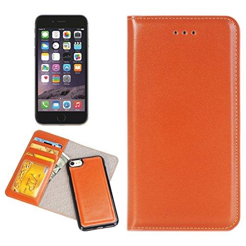 iPhone Case Cover 2 en 1 pour iPhone 6 Plus & 6s Plus Boîtier en cuir horizontal Flip avec séparable magnétique Back Cover Shell & Crad Slots & Wallet & Cadre photo ( Color : Black ) Brown