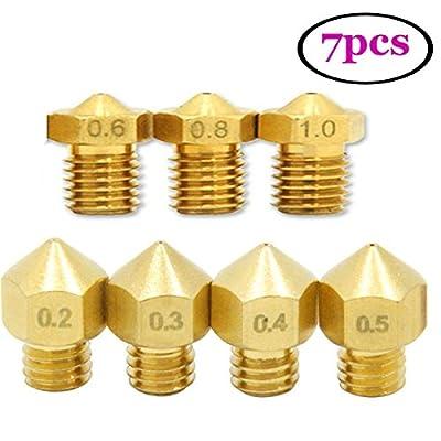 UEETEK 7pcs 1.75mm 3D Printer Head Extruder Brass Nozzle Print Head (0.2mm 0.3mm 0.4mm 0.5mm 0.6mm 0.8mm 1mm )