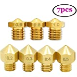 UEETEK 7pcs Brass 1.75mm 3D Cabeza de impresión de cobre amarillo de la boquilla del extrusor principal de la impresora (0.2mm + 0.3mm + 0.4mm + 0.5mm + 0.6mm + 0.8mm + 1m m)