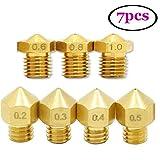 UEETEK 7pcs 1.75mm 3D Printer Head Extruder Brass Nozzle Print Head (0.2mm 0.3mm 0.4mm 0.5mm 0.6mm 0.8mm 1mm zufällig gemischt)