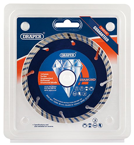 Turbo Rim Diamond Blade (DRAPER Tools dbtsr segmentiert Turbo Rim Diamond Blade, blau, 125x 22,2mm)