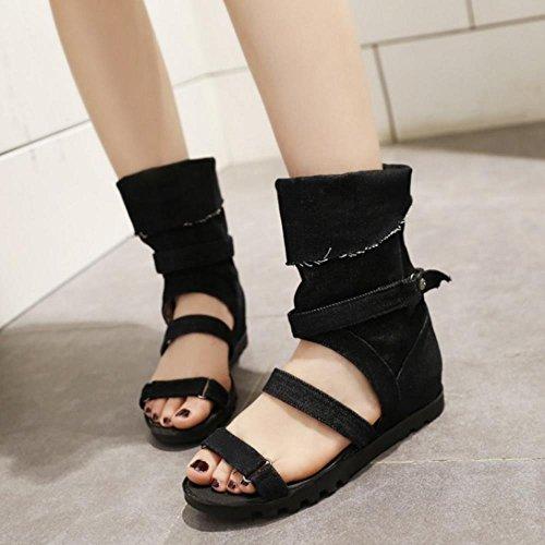 TAOFFEN Femmes Chaussures Bout Ouvert Talons Compenses Ete Sandales De Bouton 568 Noir
