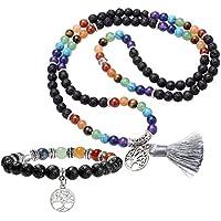 JOVIVI 6mm Mala Beads 108 Perlen Edelstein Tibetische Gebetskette + Lebensbaum Anhänger 7 Chakra Balance Yoga-Armband... preisvergleich bei billige-tabletten.eu