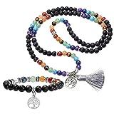 JOVIVI 6mm Mala Beads 108 Perlen Edelstein Tibetische Gebetskette + Lebensbaum Anhänger 7 Chakra Balance Yoga-Armband,Lavastein