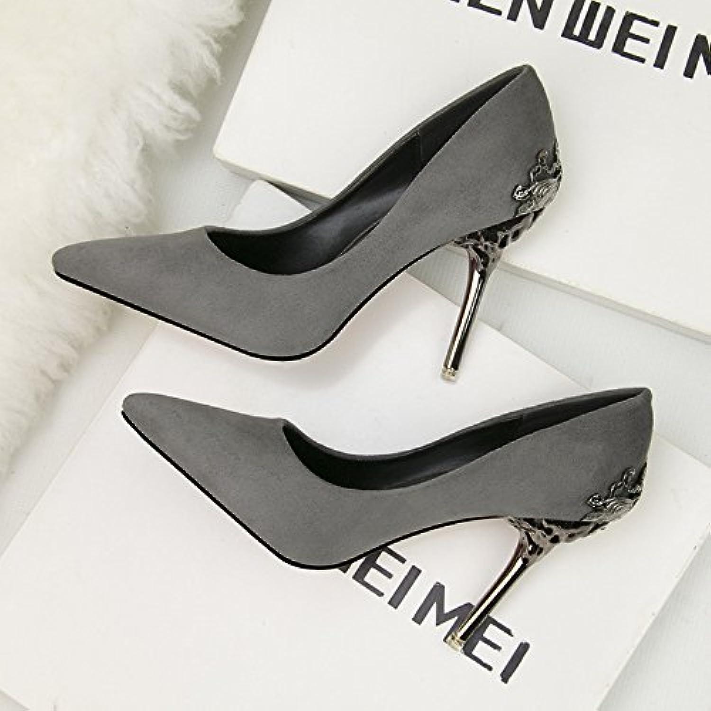 Señaló Los Zapatos De Tacón Alto, Frosted Sole, Ahuecado Suede Sandals (8 Cm O Más),Gray,Eu36Cn37
