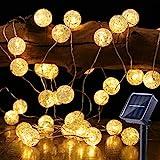 Solar Lichterkette Aussen, BrizLabs 50 LED Knistern Kristall Kugeln Warmweiß Außenlichterkette 7m 8 Modi IP65 Wasserdicht Beleuchtung für...