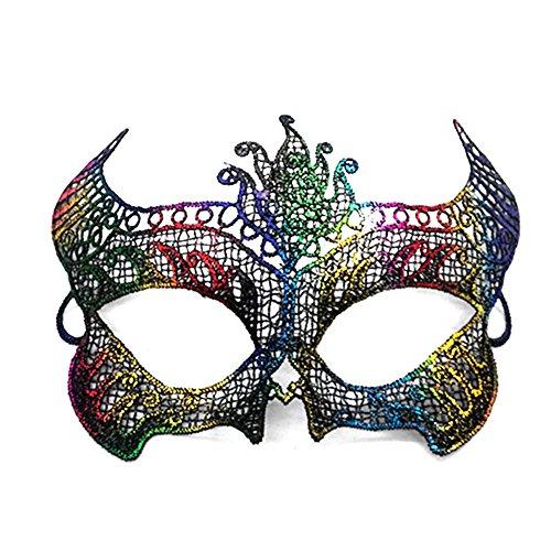 Vikenner Frauen Spitze Maske Masquerade Ball Maske Halloween Venezianische Faschingsmasken für Tanzabend Karneval Party Multicolor-Horn
