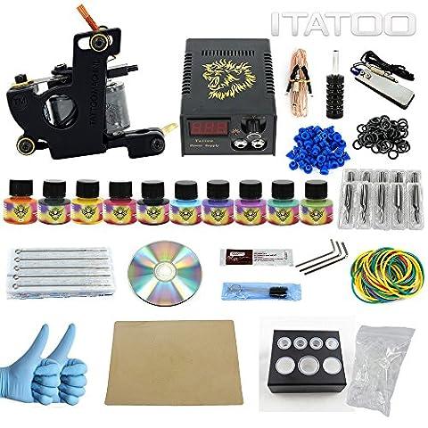 ITATOO TATTOO® Kits de tatouage Pro avec tatouage Pro Tatouage Pigment LE Alimentation (TK1000009)