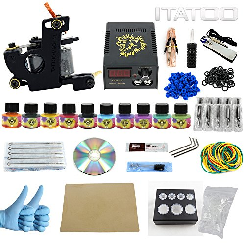 ITATOO Pro Tattoo Kits Pro Tattoo Guns Tattoo Pigment Tattoo Maschine komplett Set LED-Netzteil EU-Stecker (TK1000009) (Design Maschine Tattoo)