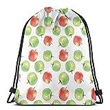 Juzijiang Drawstring Shoulder Backpack Travel Daypack Gym Bag Sport Yoga,Watercolor Illustration of Granny Smiths and Celesta Brush Strokes Effect,5 Liter Capacity,Adjustable.