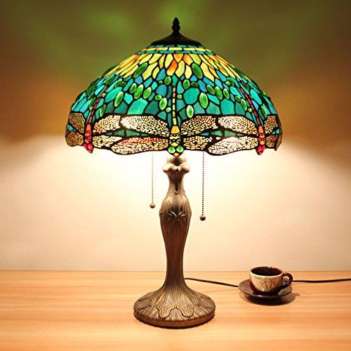 HDO 16-Zoll-Grün-Libelle Schmuck Pastoral Minimalist Tiffany Stil Tabelle Lampe Nachttisch Lampe Schreibtisch Lampe Wohnzimmer Bar Lampe -
