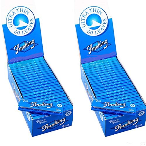 2X 50 Packs Smoking Rolling Paper Blue 70 x 37 mm 13 gr/mt. 60 Sheets/Book (Papers Smoking Rolling)