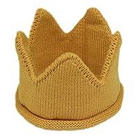 ULEEMARK Baby Boy Girl Knitted Crown Beanie Hat Stripe Crochet Birthday Party Cap Yellow