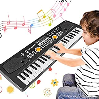 WOSTOO Kids Piano Keyboard, 49 Keys Multi-Function Electronic Kids Piano Keyboard Educational Toy, Rechargeable Portable Musical Electronic Karaoke with Microphone for Kids Girls Boys