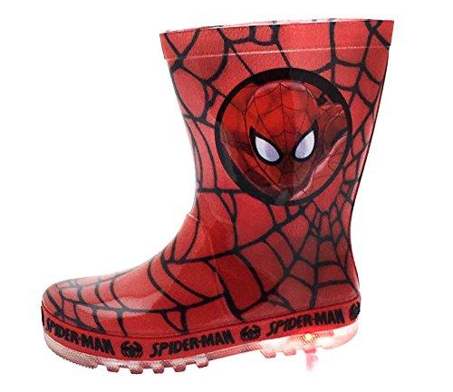 Marvel Spiderman Jungen Licht bis Wellington Schuhe Größe UK 7–1, rot - RED - BLACK WEB - Größe: 27 EU Säuglinge