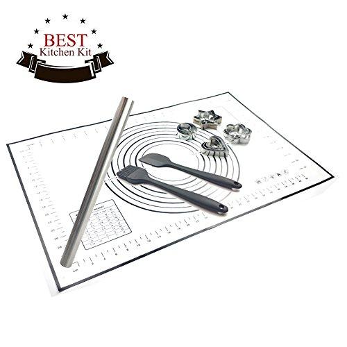 WEFLAIR Rolling Pin Acero Inoxidable y Tapete de Silicona para Pastelería Conjunto 5, Incluyendo Cortadores de Galletas, Espatula Silicona Cocina,Cepillo de Pastel Silicona, Tesoro de Cocina para Hornear (negro)