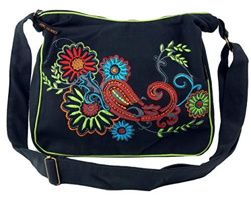 Guru-Shop Schultertasche, Hippie Tasche, Goa Tasche - Schwarz/bunt, Herren/Damen, Baumwolle, Size:One Size, 23x28x12 cm, Alternative Umhängetasche, Handtasche aus Stoff