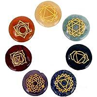 Edelstein SET mit 7 Chakra Symbolsteinen (rund) in Samtbeutel preisvergleich bei billige-tabletten.eu