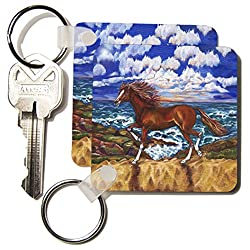3dRose Horse beautiful chestnut with socks and blaze came from fairytale - Key Chains, 2.25 x 2.25 inches, set of 4 (kc_54941_2)