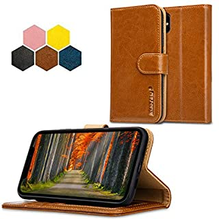 JISONCASE iPhone XS Max Wallet Case, Vintage Style Genuine Leather Stand Phone Case Cover for iPhone XS MAX with Auto Wake/Sleep Function (Vintage Tan JS-IXM-05Z20)