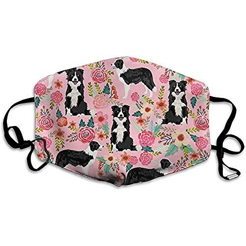 Border Collie Florals niedliche rosa Blumen Anti-Verschmutzung, staubdichte Maske, Komfort-Staubmasken, PM 2,5 einstellbar, für Frauen, Männer -