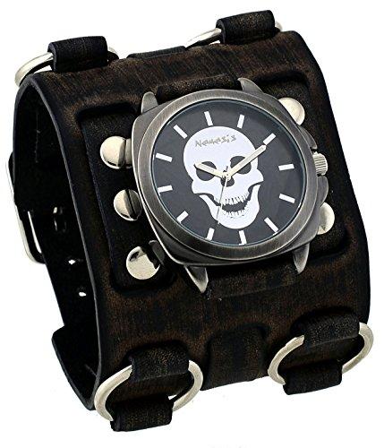 Nemesis #FWB935K Men's Gun Metal Skull Face Dial Super Tri Clasp Wide Leather Cuff Band Watch