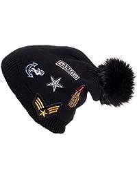 Gadzo Beanie mit Patches grobstrick Wolle Long Beanie mit Bommel Mütze KudiPA01