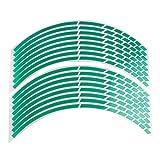 DDG EDMMS 16 Stück Felgenaufkleber reflektierend Aufkleber Breakpoint Stripe Tape 43,2 cm - 45,7 cm für Motorrad Auto Fahrrad (grün)