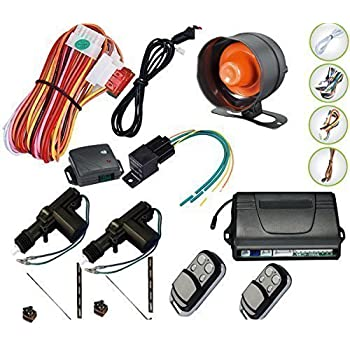 MASO Car Remote Central Locking Kit 4 Doors Keyless Entry System Anti-theft Alarm Immobiliser System with Shock Sensor Universal Fits for All Ca