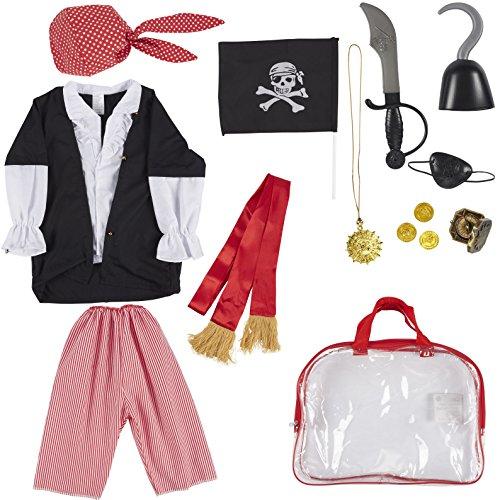 Piraten-Kostüm-Set für Kinder - 13-teiliges Piraten-Rollenspiel-Spielzeug-Set mit Bandana, Schwert, Augenklappe und anderem Zubehör zum Spielen, Halloween Dress Up, Schulspiel für Jungen und Mädchen