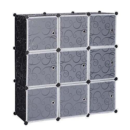 eSituro Armario Organizador Modular Estanterías de Montaje de DIY, Armario de Almacenamiento de Plástico, Armario Estantería con 9 Cubos Negro SGR0032