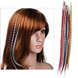 Igking supply Lot d'extensions de cheveux en plumes synthétiques avec perles 10 couleurs...