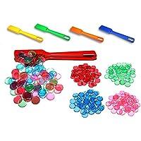 PREMIUM BINGO SET: 400 unidades, magnéticas y transparentes | Barra magnética incluída | Fichas de juego con borde magnético en distintos colores: rojo
