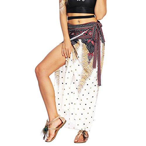 Nuofengkudu Damen Lange Hippie Rocke Luftige Boho Thai Muster Binden Taille Elegante Zigeuner Maxi Röcke Skirts Braun Pfau -