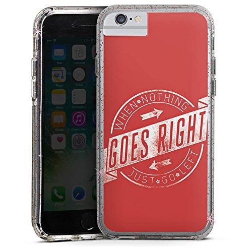 Apple iPhone 6 Bumper Hülle Bumper Case Glitzer Hülle Motivation Leben Life Bumper Case Glitzer rose gold