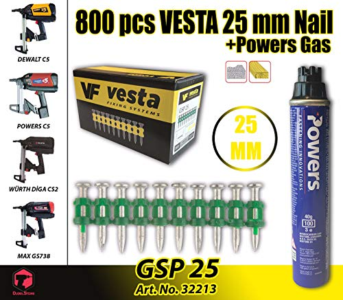 Vesta ongles C5-25 mm Gaz Cloueuse, Würth Diga CS - 2, Dewalt...