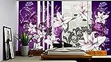 Delester Design 1203-P8 Wanddekoration, florales Motiv, 254x368cm, Violett